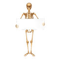 Skeleton showing sign isolated with blank Stock Photo