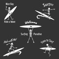 Skeleton surfer vector illustration