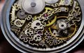 Skeleton of vintage handmade antique mechanical pocket watches, clockwork old mechanical watch, high resolution and detail, winter Royalty Free Stock Photo