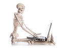 Skeleton working laptop Royalty Free Stock Photo