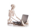 Skeleton working on the laptop Stock Images