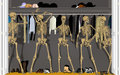 Skeletons in the closet standing around talking with each other Stock Image
