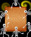 Skeletons with panel messages illustration of on halloween night Stock Photos