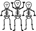 Skeletons this trio of terror makes a fun embellishment for your spooky creations for the season perfect for party favors and Stock Photography