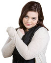 Skeptical lady with wrists crossed on white background Royalty Free Stock Images