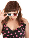 Skeptical Woman With 3D Glasses Royalty Free Stock Images