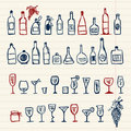 Sketch of alcohol's bottles and wineglasses Stock Photo