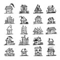 Sketch of art houses for your design Royalty Free Stock Images