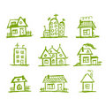 Sketch of art houses for your design Royalty Free Stock Image