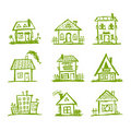 Sketch of art houses for your design Royalty Free Stock Photos