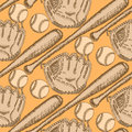 Sketch baseball ball, bat and glove, seamless pattern Royalty Free Stock Photo
