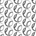 Sketch baseball ball, vector  seamless pattern Royalty Free Stock Photo