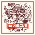 Sketch bbq. Hand drawn barbecue grilled food, ribs and sausages, chicken and steaks, fish and vegetables. Vintage poster