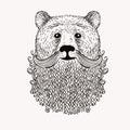 Sketch Bear with a beard. Hand drawn illustration. Doodl
