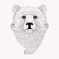 Sketch Bear with a beard and moustache. Hand drawn illus
