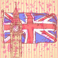 Sketch big ben on tile with uk flag vector background vintage Royalty Free Stock Image