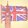 Sketch big ben on tile with uk flag vector background vintage Stock Photo