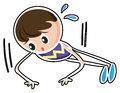 A sketch of a boy doing the push up exercise illustration on white background Royalty Free Stock Images