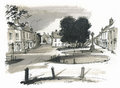 Sketch of Burhham Market, Norfolk, UK Royalty Free Stock Photography