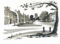 Sketch of Burhham Market, Norfolk, UK Stock Photos