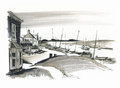 Sketch of Burhham Overy Harbour, Norfolk, UK Royalty Free Stock Image