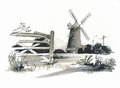 Sketch of Burhham Overy Mill, Norfolk, UK Stock Photo