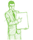 Sketch businessman with empty write board Royalty Free Stock Image