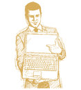 Sketch Businessman With Open Laptop In His Hands Royalty Free Stock Images