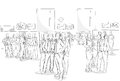 Sketch Businesspeople Crowd Office Interior Business Team Hand Drawn People