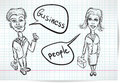 Sketch of a businesswoman and a businessman on notebook sheet Stock Photos