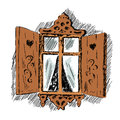 Sketch of carved wooden decorative lace decoration window. Old wooden house hand drawn illustration Royalty Free Stock Photo