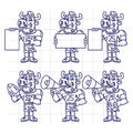 Sketch Character Set Bull Football Player Holds Megaphone Ball Royalty Free Stock Photo