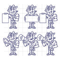 Sketch Character Set Rhino Football Player Holds Megaphone Ball Royalty Free Stock Photo