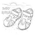 Sketch Children`s sandals for a boy