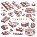 Sketch chocolate. Engraving black chocolate bars, truffle sweets and coffee beans. Vintage hand drawn isolated vector