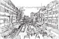 Sketch city scape Thai local market place in Chiangmai, free
