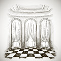 Sketch of a classic parlor ballroom hall Royalty Free Stock Photo
