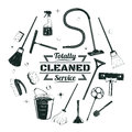 Sketch Cleaning Service Elements Round Concept