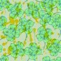 Sketch clover, vector seamless pattern, saint Patrick day symbo