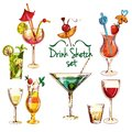 Sketch Cocktail Set Royalty Free Stock Photo