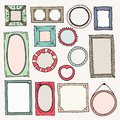Sketch color frames. Vintage photo frame hand drawn square oval picture for scrapbook scribble journaling borders vector Royalty Free Stock Photo