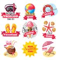 Sketch Colored Summer Vacation Labels Set