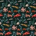Sketch Colorful Marine Animals Seamless Pattern
