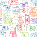 Sketch colorful vintage cameras