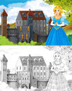 The sketch coloring page artistic style fairy tale beautiful with preview for kids Royalty Free Stock Image