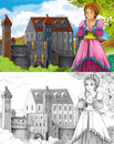 The sketch coloring page artistic style fairy tale beautiful with preview for kids Royalty Free Stock Photos