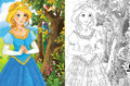 The sketch coloring page artistic style fairy tale beautiful with preview for kids Stock Photo