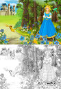 The sketch coloring page artistic style fairy tale beautiful with preview for kids Royalty Free Stock Images