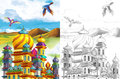 The sketch coloring page artistic style fairy tale beautiful with preview for kids Stock Photos