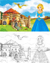 The sketch coloring page with preview beautiful for children Royalty Free Stock Image
